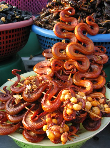 Snake skewers with egg sacs - Phnom Penh, Cambodia