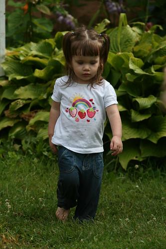 big hosta, little girl