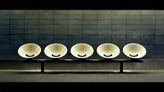 (Amaury Henderick) Tags: urban paris france underground subway grit gloomy metro m1 seats smiley ubahn gloom frankrijk stoel chaises parijs smileys ratp stoeltjes champselysesclemenceau