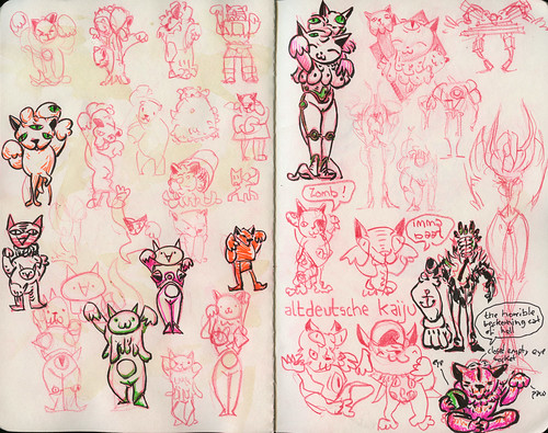 kaiju monster cat sketches 2