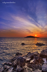 Sunset (Vicky Tsavdaridou) Tags: travel blue sunset sea sky cloud seascape water clouds photoshop canon geotagged island photography photo interesting europe hellas explore greece topaz kalymnos hellenic photomatix efs1022