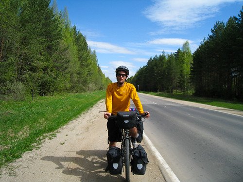 Justin on a Russian road