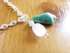 Turquoise, rose quartz and crystal necklace (Betty1553) Tags: pink orange green bird yellow vintage silver antique turquoise cream jewellery mauve pearl amethyst gemstones swarovskicrystal citrine labradorite semiprecious folksy rosequartz redcoral lapislazuli rainbowrocks luciteflowers