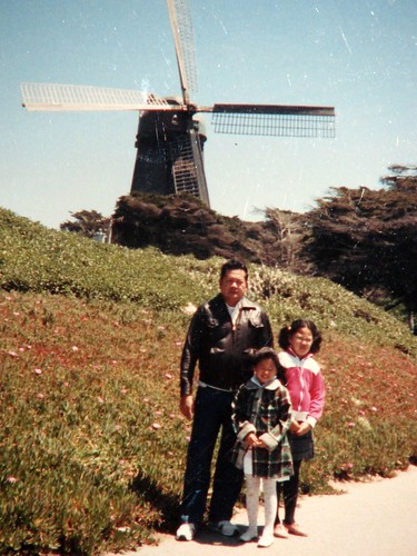 Irene and Christina with dad in San Francisco - 1987