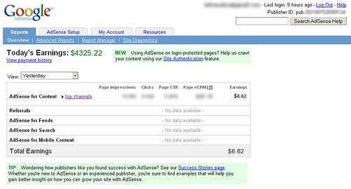 Falso screenshot de AdSense