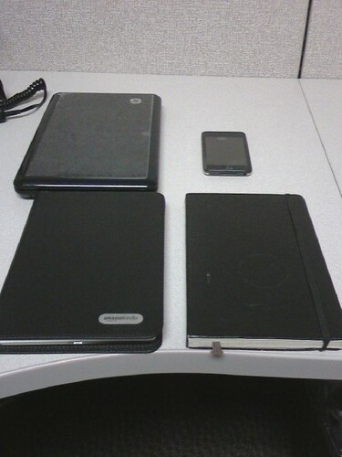 Clockwise from top left: HP Mini-Note 1000, Ipod Touch, Moleskine, Kindle in its case