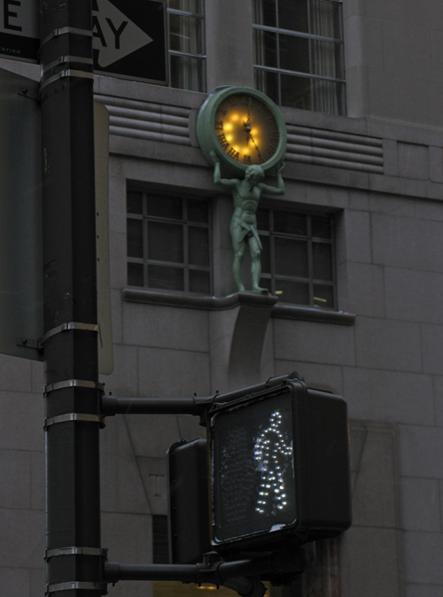 the little man and a clock, Manhattan, NYC