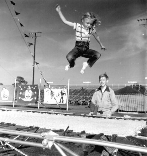 Young girl jumping on a trampoline at the Sarasota High School Sailor