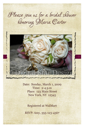 Bridal Shower Invitation Sample, 4x6, full-size