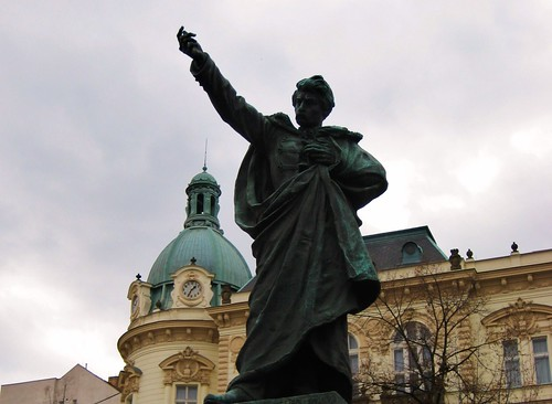 Statue in front of Zizkov city hall
