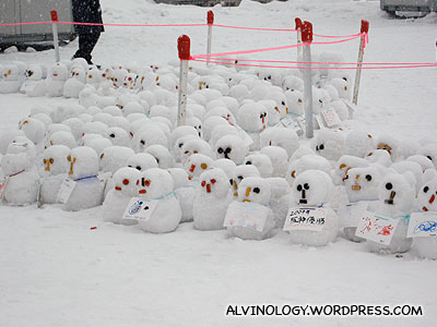 Collection of snowmen made by visitors