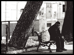 Loneliness (Sabrina Campagna) Tags: park street old bw white man black tree lumix photography alone loneliness panasonic uomo solo 50 fz fz50 solitudine