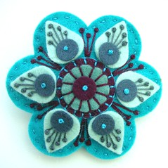STARGAZER FELT BROOCH WITH FREEFORM EMBROIDERY (APPLIQUE-designedbyjane) Tags: star embroidery brooch silk felt cotton