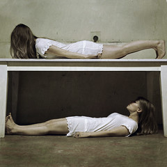 rewind (brookeshaden) Tags: selfportrait table opposite basement twin blocked together believe lie harmony sight rewind lay between separated brookeshaden