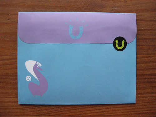 Red Tango horse envelope, back