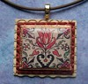 Historic ornament pendant - tulip (Linda-NKDesigns) Tags: texture beige polymerclay ornaments copper resin transfer bail layered nkdesigns aanraku texturedframe copperleafing tulipmagictransferpaper