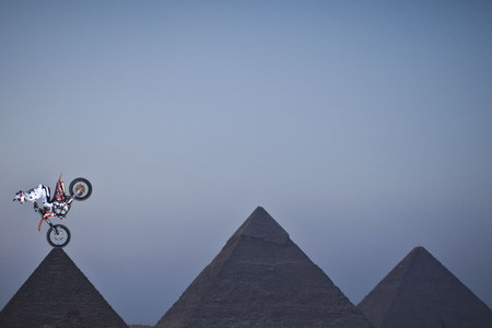 Nick de Wit of South Africa performs in front of the Great Pyramids during the Red Bull Fighters International Freestyle Motocross 2009 Exhibition Tour.
