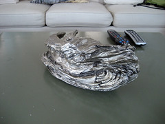 bizarre silver painted driftwood
