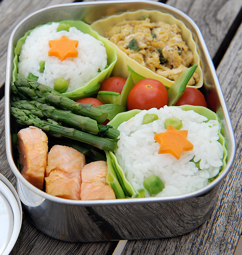 Pink, green and yellow spring bento