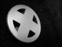 X-Men Insignia Pin (JD Hancock) Tags: bw circle costume pin x cc xmen superhero monday nogeo inkitchen 7daysofshooting monomonday week42x jdhancock