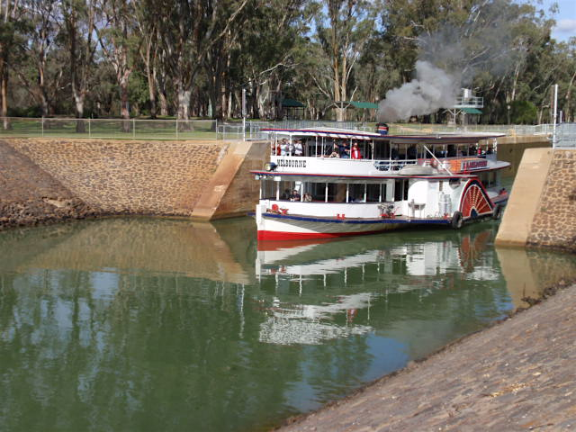Paddle steamer and lock