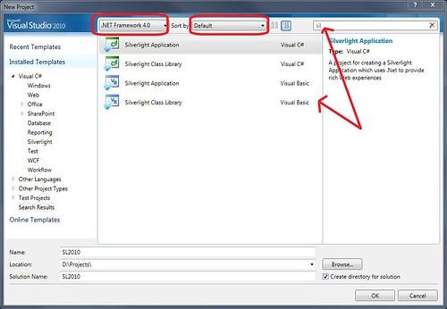 Caja de diálogo de Nuevo Proyecto en Visual Studio 2010