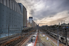 Tennoji (WilliamBullimore) Tags: city railroad sunset sky urban motion japan architecture clouds train buildings cityscape railway trains motionblur jp osaka hdr tennoji railroadtracks railwaytracks urbansetting urbanarchitecture urbanenvironment digitalcameraclub osakafu tennojiku canonef1635mmf28liiusm estremit canoneos5dmarkii