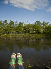 Where I Sat. (Sal W) Tags: blue orange selfportrait green scotland pond sunny bluesky hedge eglintonpark myfeet ayrshire eggy greenshoes orangesocks kilwinning nikond300