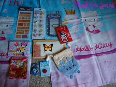 Pen Pal Goodies from Janet (Dreaming Magpie) Tags: hello door bunny glitter pen bag mouse penguin milk duck sticker pin hellokitty curtain stickers kitty capsule sheets note swap pouch kawaii button daisy letter minnie 25th pal bomb package penpal swapping memopad blotting