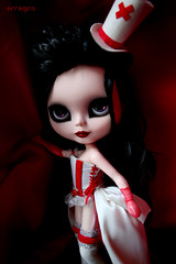 Ready for the Show (erregiro) Tags: red black fashion cat dark nose carved outfit eyes feline doll eyelashes handmade ooak makeup style can lips ccc blythe cabaret custom eyelids reroot erregiro