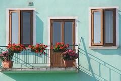 Burano windows door turquoise wall