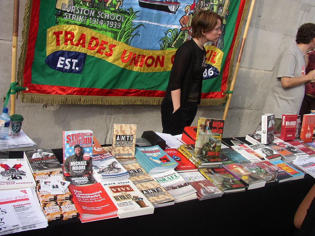 Book table at anti-war Demo