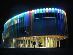 Bijlmer Parktheater (Jesper2cv) Tags: light urban holland color colour netherlands dutch amsterdam skyline architecture modern night licht zuidoost colorful europa europe theater colours theatre nacht couleurs nederland landmark led schouwburg lumiere architektur colourful nl farbe nuit paysbas couleur bunt afterdark architectuur farben niederlande kleurrijk color kleur kleuren stadsarchief verlichting bont bijlmermeer madeinholland bijlmerpark publieksprijs architectuurprijs denijs bijlmerparktheater paulderuiter zuidoostarchitectuurpijs2009