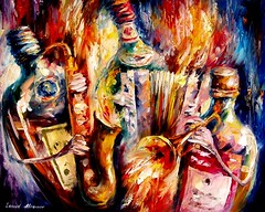 bottlejazz (leonidafremov) Tags: music art colorful wine bottles jazz romantic afremov