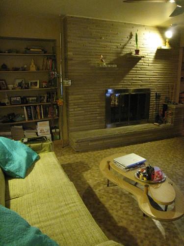 TV Room, Fireplace & Amoeba Coffee Table