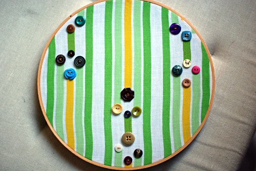 vintage fabric+button wall art