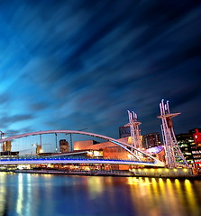 Salford at Night (Asim237) Tags: uk bridge night manchester walk salfordquays salford quays