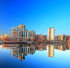 Victoria Building (Asim237) Tags: blue sky water reflections manchester smooth salfordquays salford quays sigma1020 canon40d