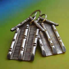 Bamboo Temple - Sterling Silver Earrings (mocahete) Tags: art metal handmade jewelry bamboo jewellery exotic metalwork etsy wearable artisanal artisan adornment metalsmith etsymocahete sterlingsiler