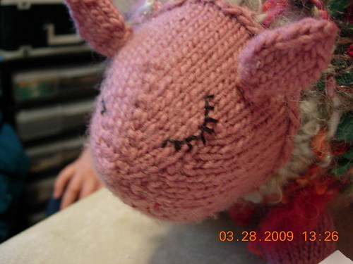 pink sheep now with a face