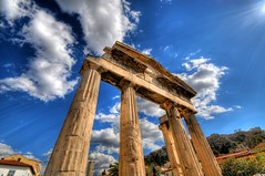 The Gate of Athena Archegetis to the Roman Forum in Athens, Greece (5ERG10) Tags: blue sky sergio architecture clouds photoshop greek temple ancient nikon gate arch roman juliuscaesar forum wideangle athens greece grecia handheld column acropolis athena frontpage mythology architettura hdr highdynamicrange agora doric attica d300 3xp photomatix atene sigma1020  tonemapping  amiti 5erg10 ithinkbutterfliesusuallygotofplol haveanicedaysergio sergioamiti