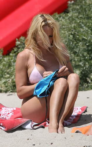 Pamela Anderson enjoying a day at the beach