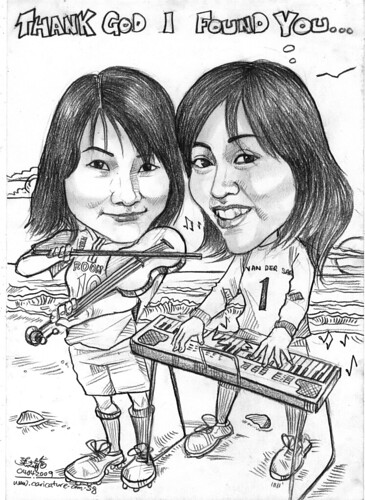 caricatures of keyboarder and violist at beach