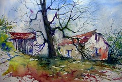 vieux chatagner/ old chestnut-tree (chrisaqua47) Tags: france color tree barn watercolor painting landscape europe farm couleurs aquarelle award brush peinture express acuarela paysage arbre yourself ferme grange pintura pittura aquarella acquarello akvarell awarela expressyourselfaward
