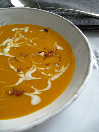 Spiced pumpkin soup with honeyed cream