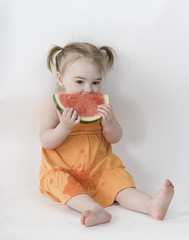 Watermelon 2 (Courtney Lynn Robertson) Tags: summer orange baby cute feet girl smile childhood fruit youth child dress bright young watermelon barefoot pigtails melon orangedress courtneyrobertson courtneylynnphotography courtneylynnrobertson