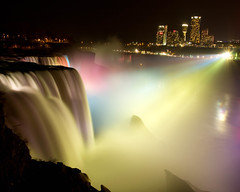"The American Falls ""Beauty at Night"" (sandrajkammerer) Tags: pictures mist canada color water beautiful canon buildings photography lights spring rocks long exposure cityscape spirit tripod most worldwide 1001nights breathtaking travelogue spotlights mas"