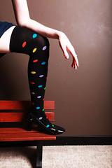 relative copycat (CrzysChick) Tags: portrait selfportrait me socks self bench myself shoes copycat leg polkadots sp crop tribute dots kneesocks totw justk