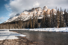 Castle Mountain (mikev1) Tags: canada mountains clouds river landscape rockies alberta banff castlemountain