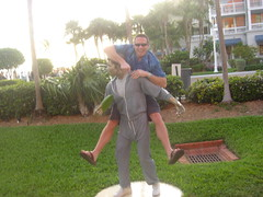 Dave on the Statue at Mallory Square in Key West